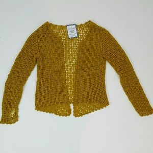 Mustard yellow crochet knit cardigan sweater Small